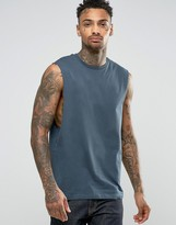 Asos Sleeveless T-Shirt With Dropped Armhole In Blue