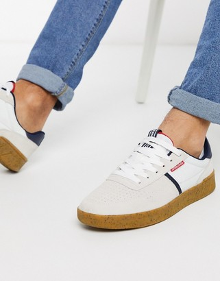 Jack and Jones suede sneakers with gum sole in white