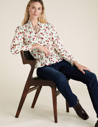 Marks and Spencer Floral Long Sleeve Peplum Blouse