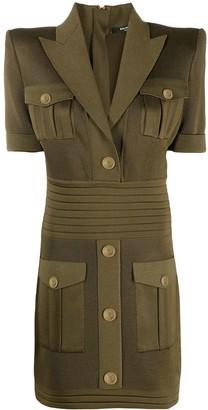 Balmain Knitted Shirt-Style Minidress