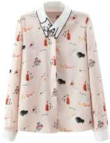 Joeoy Women's Printed Cat Pattern Collar Long Sleeve Button Down Shirt-L