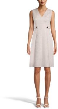 Anne Klein Banded-Waist Jacquard Dress