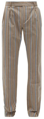 Ahluwalia Striped Reclaimed-cotton Trousers - Brown