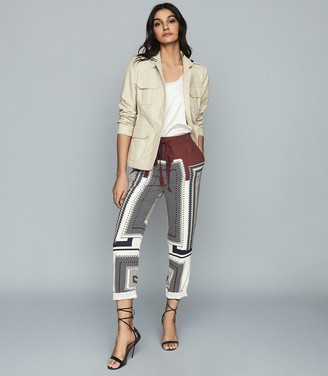 Reiss Imogen - Printed Straight Fit Trousers in Navy
