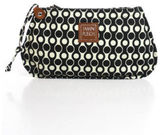 Jamin Puech Cream Black Geometric Print Wrist Strap Canvas Leather Detail Clutch