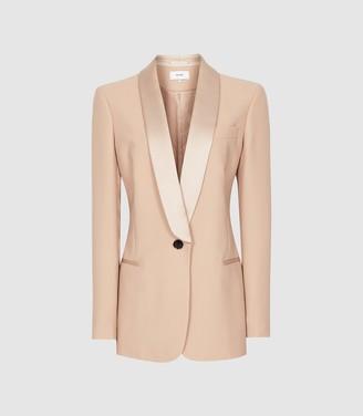 Reiss Arianna - Satin Trimmed Crepe Blazer in Soft Pink