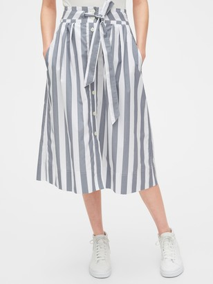 Gap Tie-Belt Button-Front Stripe Midi Skirt