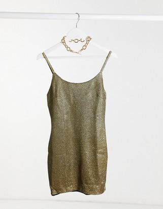 I SAW IT FIRST metallic cami mini dress in gold