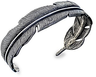 Jean Claude Stainless Steel Holly Feather Bangle Bracelet