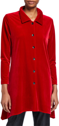 Caroline Rose Petite Button-Front Long-Sleeve Stretch-Velvet Side-Fall Shirt