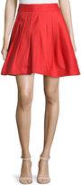 Halston Flared Mini Skirt W/Pleats, Vermillion