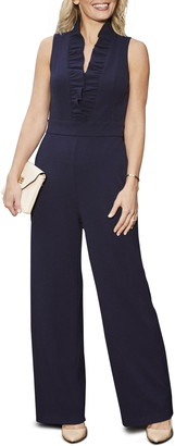 Harper Rose Ruffle Neck Crepe Jumpsuit