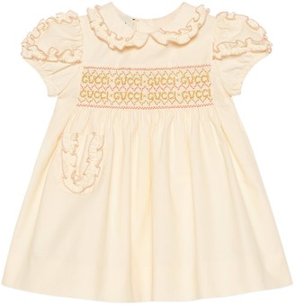 Gucci Baby cotton poplin dress with smocking