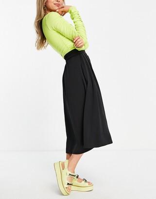 Monki Sigrid recycled button through midi skirt in black