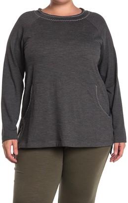 Max Studio Crew Neck Pocket Pullover Sweatshirt