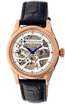 Heritor Automatic Nicollier Mens Skeleton Dial Leather-Rose Gold/Black Watches
