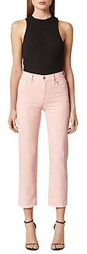 Hudson High Rise Straight Cropped Jeans in Soft Pink