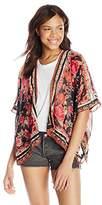 Angie Juniors' Rose-Printed Soft Kimono Cardigan