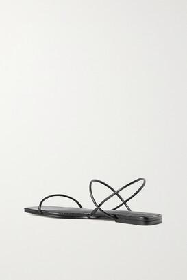 ST. AGNI + Net Sustain Pina Croc-effect Leather Slingback Sandals - Black