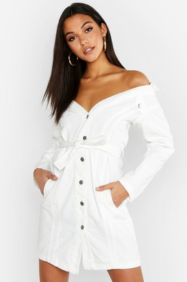 boohoo Tall Off The Shoulder Belted Denim Dress