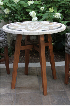 Outdoor Interiors Counter Height Spanish Marble & Eucalyptus Table