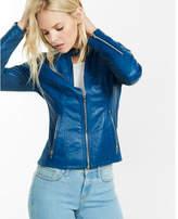 Express Blue Double Peplum (minus The) Leather Jacket