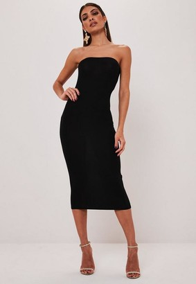 Missguided Black Basic Bandeau Bodycon Midi Dress