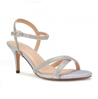 Linzi Paradox London Riva Silver Low Heel Ankle Strap Sandals
