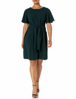 Donna Morgan Women's Plus Size Tie Front Crepe Dress