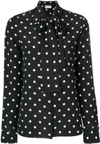 Saint Laurent polka dot pussy bow blouse