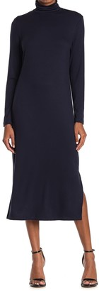 T Tahari Turtleneck Long Sleeve Midi Dress