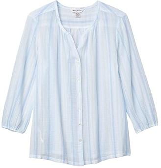 Tommy Bahama Lana Bay Stripe Top 3/4 Sleeve (Light Sky) Women's Clothing