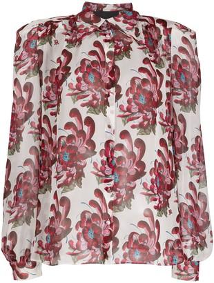 John Richmond long-sleeved floral-print shirt