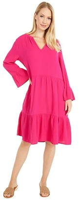 Mod-o-doc Double Layer Gauze Mandarin Collar Dress with Ruffle Hem (Magenta) Women's Clothing