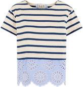 Sea Ivory & Blue Stripe Broderie Hem T-Shirt