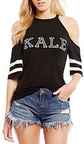 Moa Moa Cold Shoulder Kale Ringer Graphic Tee
