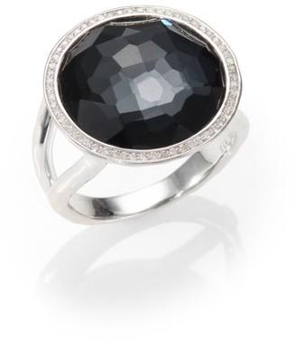 Ippolita Stella Hematite, Clear Quartz, Diamond & Sterling Silver Medium Doublet Cocktail Ring