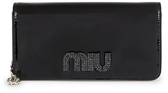 Miu Miu Embellished Logo Patent Leather Crossbody