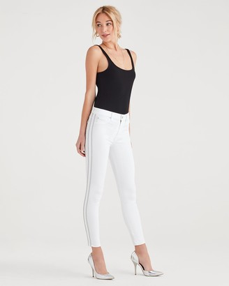 7 For All Mankind High Waist Ankle Skinny with Double Silver Lurex Stripes in White Fashion