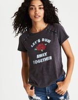 American Eagle Outfitters AE Lace-Up Shoulder Graphic T-Shirt