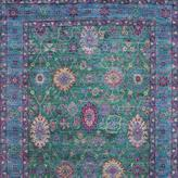 Aqua Silk Collection Hand-Knotted Green/Light Blue Area Rug