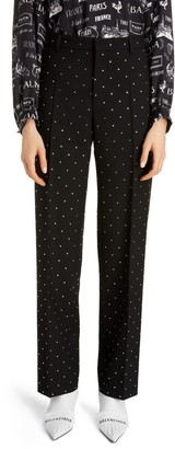 Balenciaga Embellished Straight Leg Wool Pants