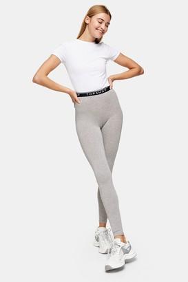 Topshop Womens Grey Marl Branded Elastic Leggings - Grey Marl