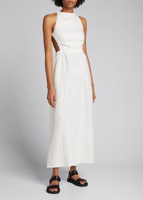 SIR the Label Alena Linen Cross-Back Maxi Dress