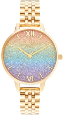 Olivia Burton Women's Rainbow Gold-Tone Stainless Steel Bracelet Watch 34mm