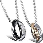 COPAUL Fashion Jewelry 2pcs CZ Mens Stainless Steel Heart Ring Love Couples Necklace Pendant Sets