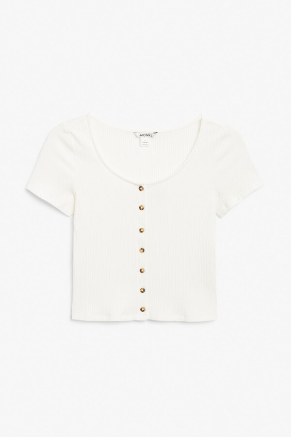 Thumbnail for your product : Monki Cropped button-up top