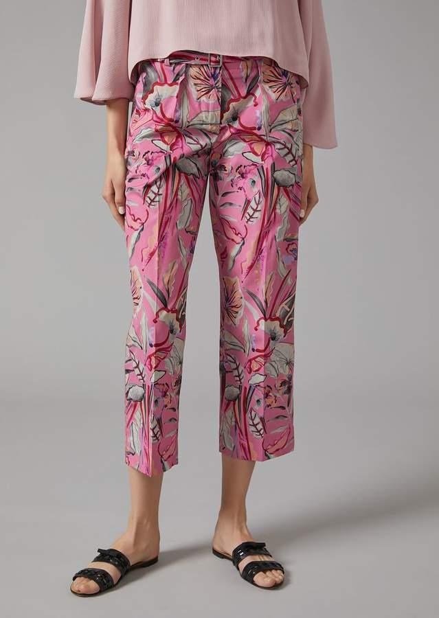 Giorgio Armani Trousers In Floral Cloth