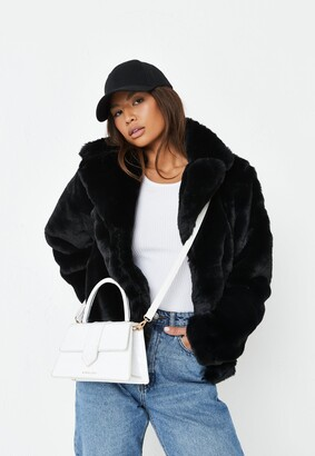 Missguided Black Short Collar Faux Fur Coat