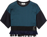 3.1 Phillip Lim Fringed striped satin-twill and cotton-mesh top